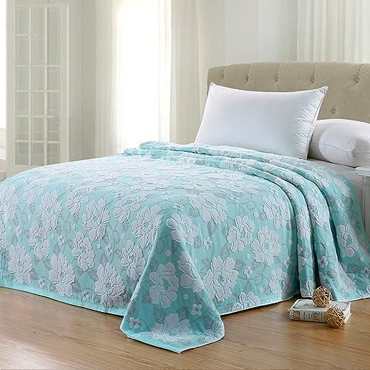 Wddwarmhome Manta de material de algodón cama dormitorio cubierto ...