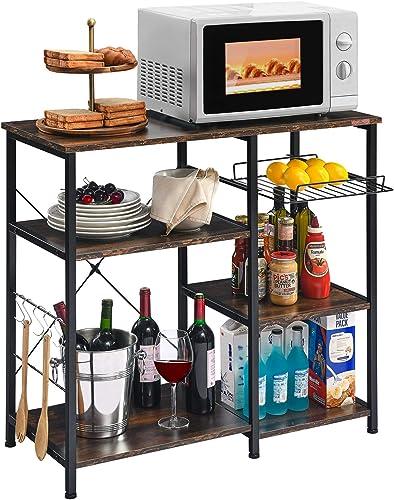 Mr IRONSTONE Kitchen Baker's Rack Utility Storage Shelf Microwave Stand 3-Tier 3-Tier Table