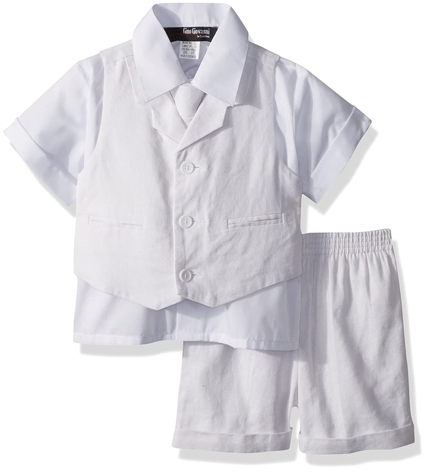 Gino Giovanni Baby and Toddler Boy Summer Cotton/Linen Blend Suit Vest Short Set