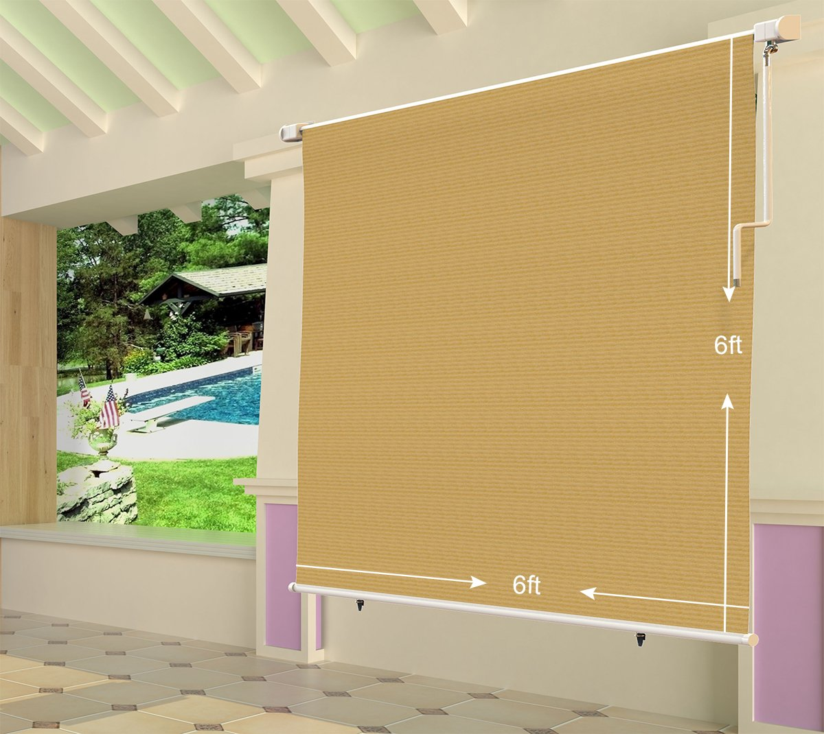 Shatex 6x6ft Wheat Outdoor Roller Sun Shade Exterior Cordless Roller Shade by Shatex