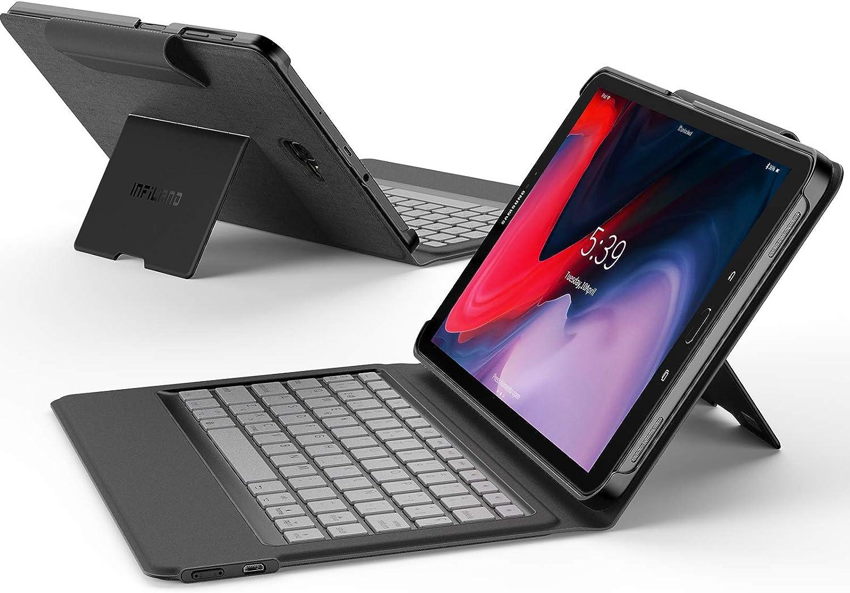 INFILAND Estuche para Samsung Tab A 10.1, Soporte para la mayoría de los ángulos con Teclado inalámbrico Bluetooth para Samsung Tab A 10.1 T580(función Despierta automático/Reposo automático), Negro
