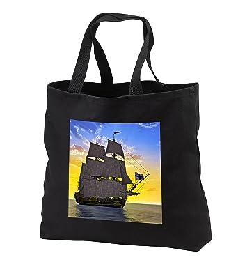 16b01f34c535 Boehm Graphics Ship - Black Corvette Sailing Ship Sailing to the Left Front  at Sunrise -