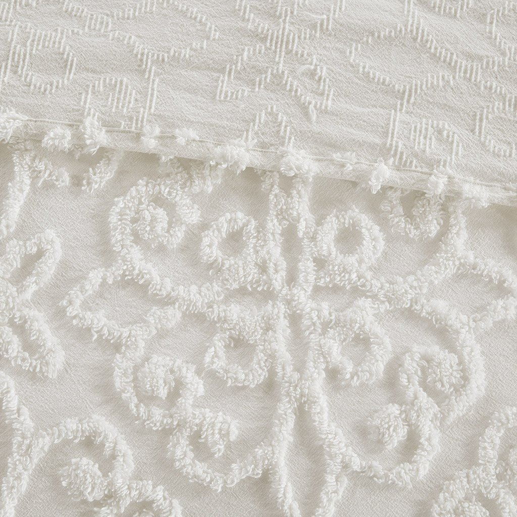 Madison Park Sabrina 3 Piece Tufted Cotton Chenille Bedspread Set White King//Cal King MP13-5321