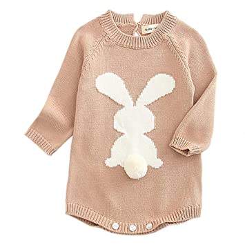 21a46fea460 Warm Knit Romper For Newborn Baby Girl Long Sleeves Cartoon Rabbit Sweater Bodysuit  Onesie Outfit Jumpsuit