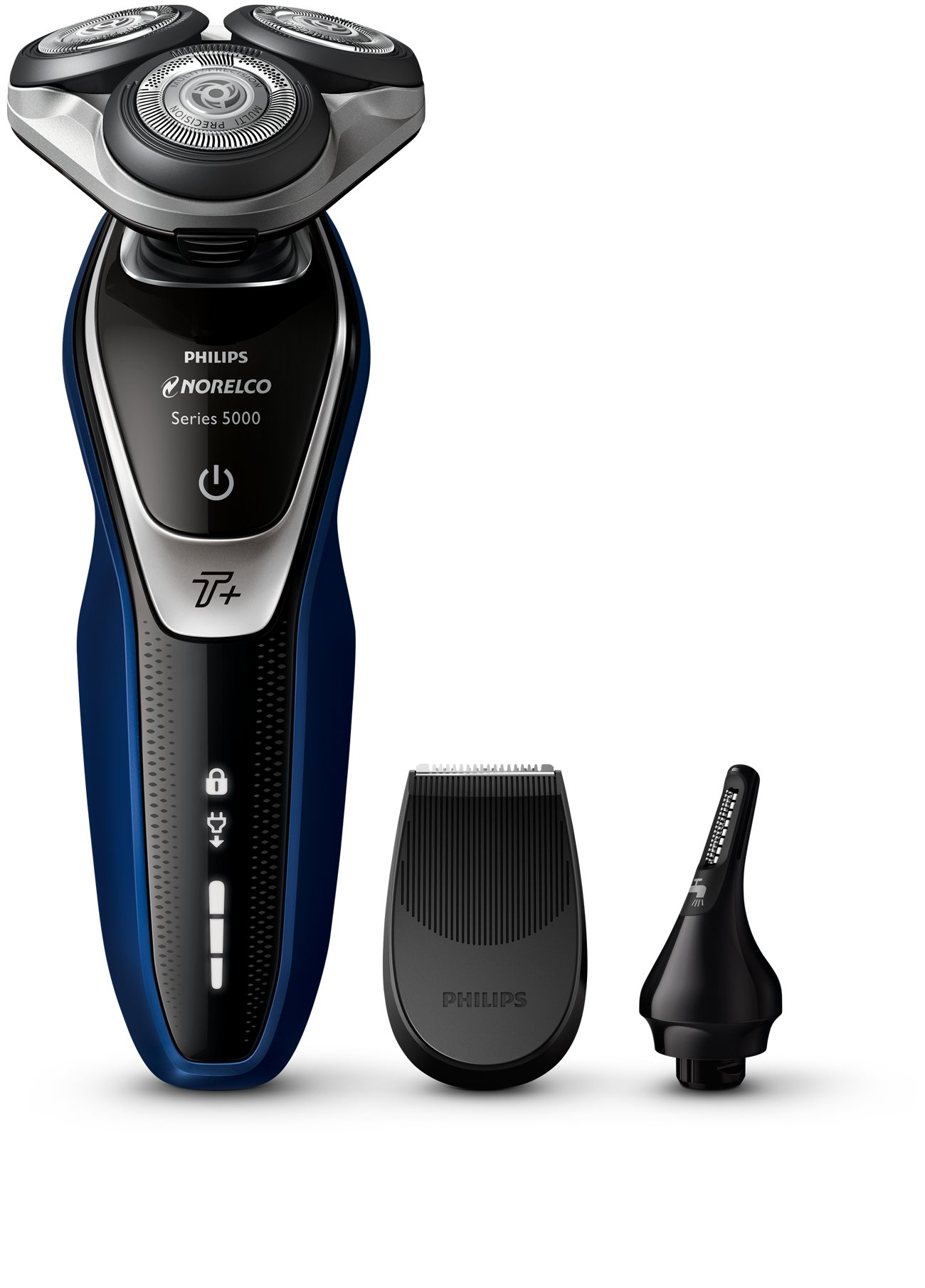 Philips Norelco Electric Shaver 5570 Wet & Dry, S5572/90, with Turbo+ mode and Nose + Ear Trimmer