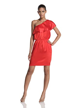 e85c446f HALSTON HERITAGE Women's One Shoulder Ruffle Dress, Cayenne, 6 ...