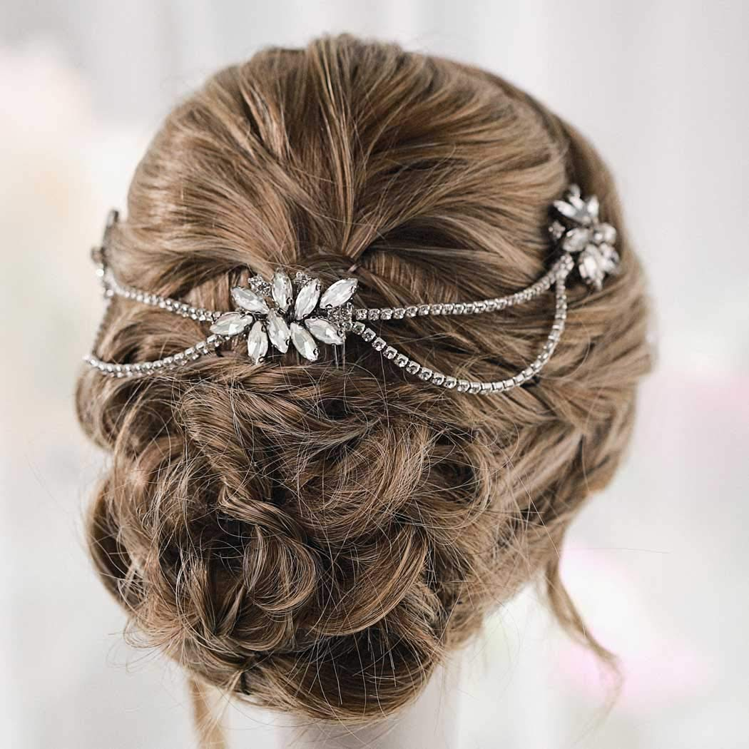 Unicra Crystal Wedding Hair Comb Chain Bridal Hair Accessories for Brides and Bridesmaids(Sliver) by Unicra