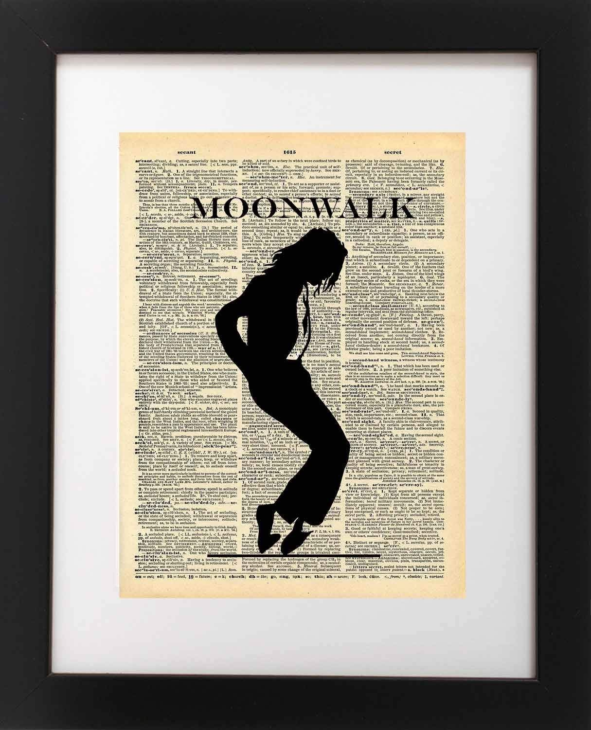 Michael Jackson Vintage Art - Moonwalk - Vintage Dictionary Print 8x10 inch Home Vintage Art Abstract Prints Wall Art for Home Decor Wall Decorations For Living Room Bedroom Office Ready-to-Frame