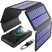 BLAVOR SolarLadegerät Wireless Powerbank,20000mAh Externer Akku mit 5 Abnehmbaren Solar Panels Tragbarer Qi-ladegerät SOS Taschenlampe Typ C-Anschluss und Dual-Ausgang