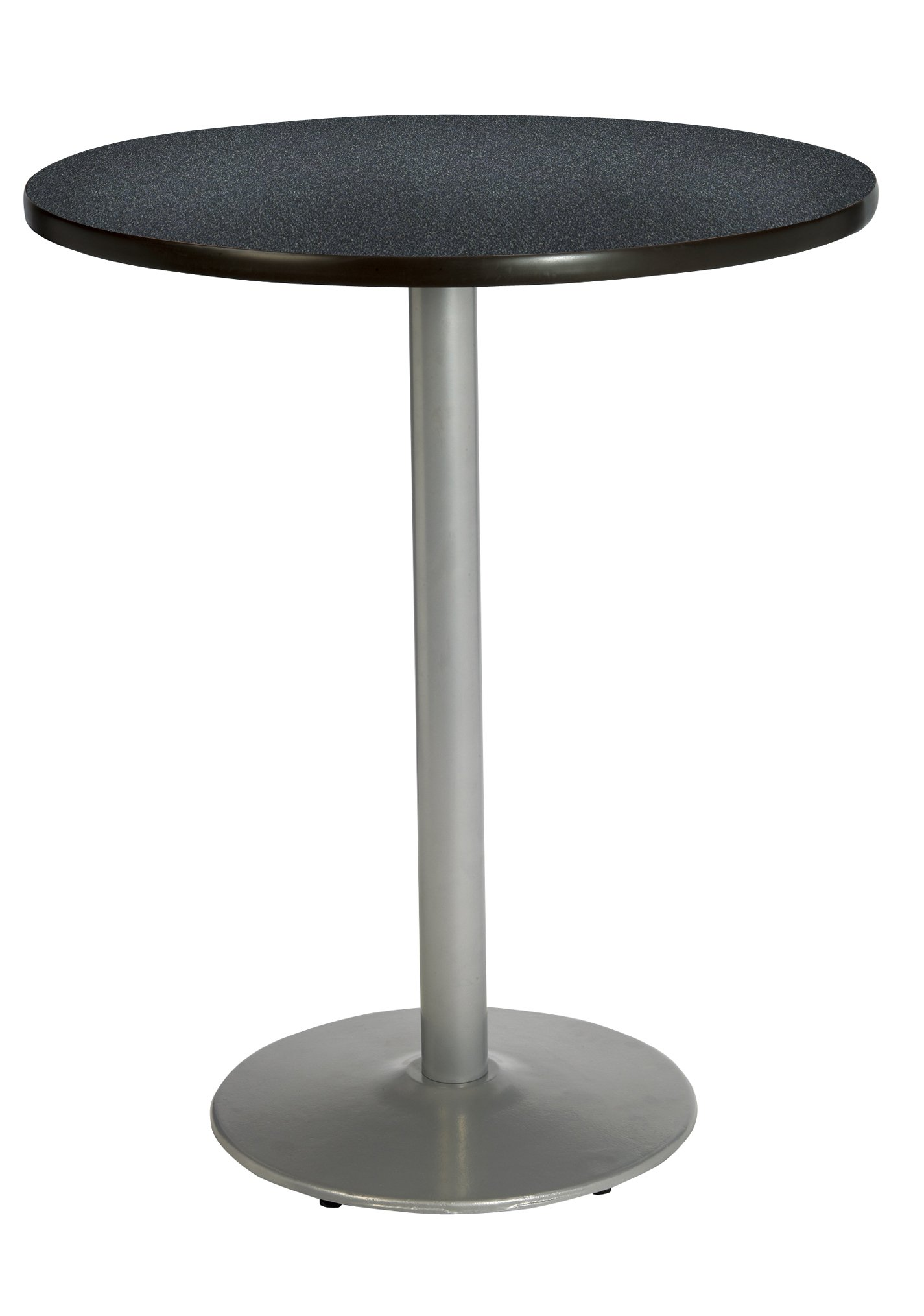 KFI Seating Round Bar Height Pedestal Table with Round Silver Base, Commercial Grade, 36-Inch, Graphite Nebula Laminate, Made in the USA