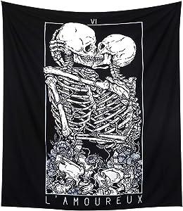 LOMOHOO Skull Tapestry Kissing Lover Black and White Tarot Skeleton Flower Tapestry Wall Hanging Beach Blanket Romantic Bedroom Dorm Home Decor (L:148x200cm/58 x79)