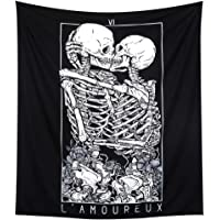 LOMOHOO Skull Tapestry Kissing Lover Black and White Tarot Skeleton Flower Tapestry Wall Hanging Beach Blanket Romantic…