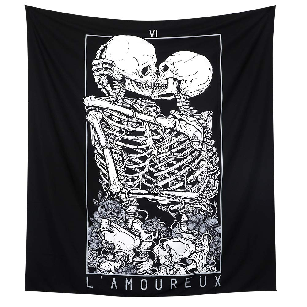 LOMOHOO Skull Tapestry Kissing Lover Black and White Tarot Skeleton Flower Tapestry Wall Hanging Beach Blanket Romantic Bedroom Dorm Home Decor (Skull Kissing Lover, M:130x150cm/51 x59)