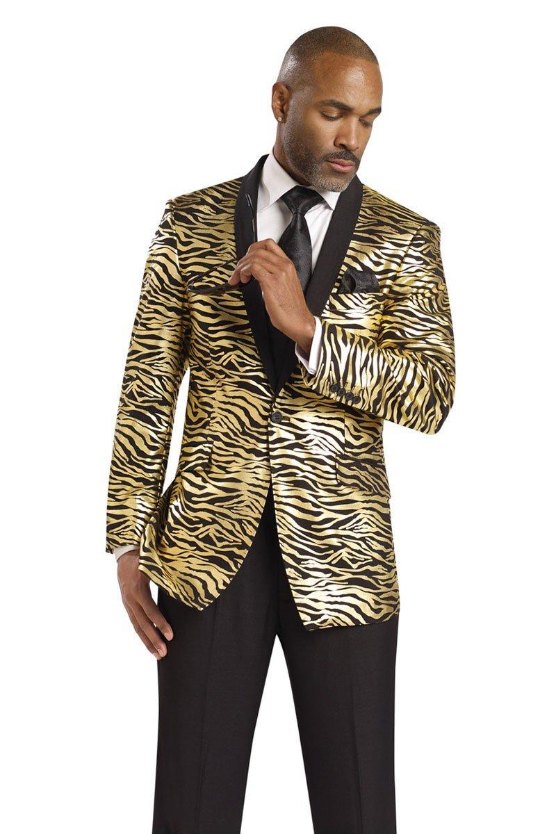E.J. Samuel Mens Zebra Print Gold Black Jacket 2 PC Suit Wedding Tuxedo M2705 Singer (44R Waist Size 38)