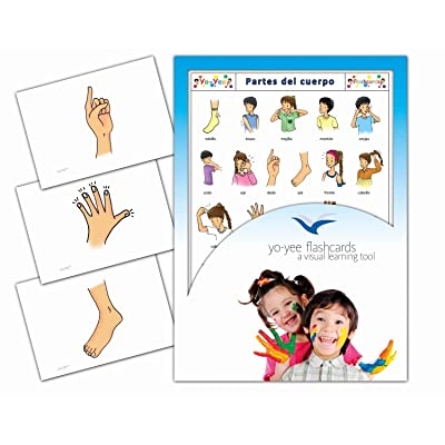 Tarjetas de vocabulario -Partes del Cuerpo - Body Parts Flashcards in Spanish for Toddlers 2-4, Kids, Children and Adults: Toys & Games