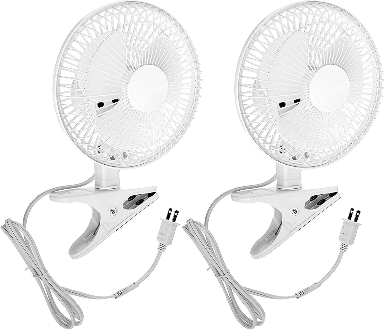 """6 INCH - 2 Speed - Adjustable Tilt, Whisper Quiet Operation Clip-On-Fan with Steel Safety Grill (2, 6"""" Fan with 5 FT Cord)"""