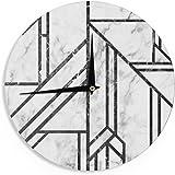 "KESS InHouse KESS Original ""Black Marble Mosaic"" Geometric Modern Wall Clock, 12"""