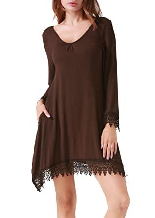 0741db903e00 Invug Women Casual Soft Long Sleeve Pockets Lace Stretchy Swing T-Shirt  Dress Coffee S