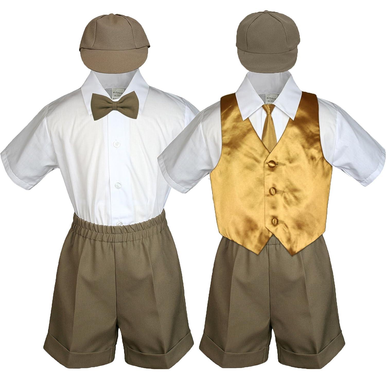 Leadertux Baby Toddler Boy Party Suit Dark Taupe Shorts Shirt Hat Necktie Vest Set Sm-4T