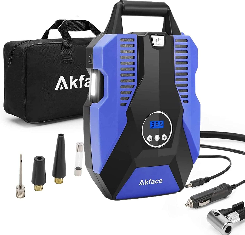 Akface Compresor de Aire Coche,Inflador Coches Portatil,Inflador Neumaticos hasta 150 PSI,Compresores 12v para Bicicleta de Coche y Otros Inflables,Azul