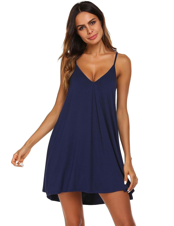 Navy bluee Acecor Women Sleepwear Deep VNeck Backless Solid Loose Nightdress SXXL