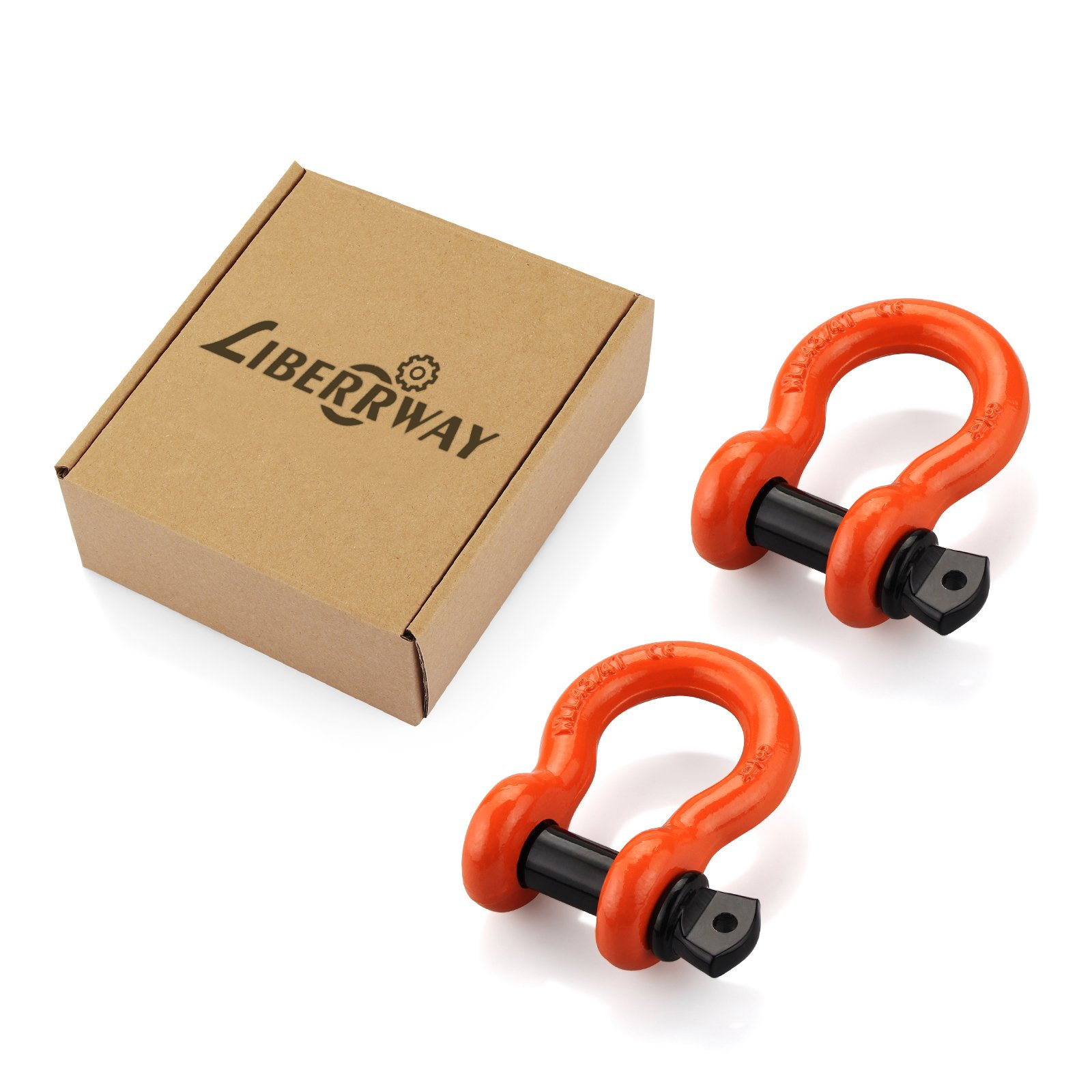 LIBERRWAY Shackles 3/4'' (2 Pack) D Ring Shackle Rugged Off Road Shackles 28.5 Ton (57,000 lbs) Maximum Break Strength with 7/8'' Pin Heavy Duty D Ring for Jeep Vehicle Recovery, Orange by LIBERRWAY (Image #9)