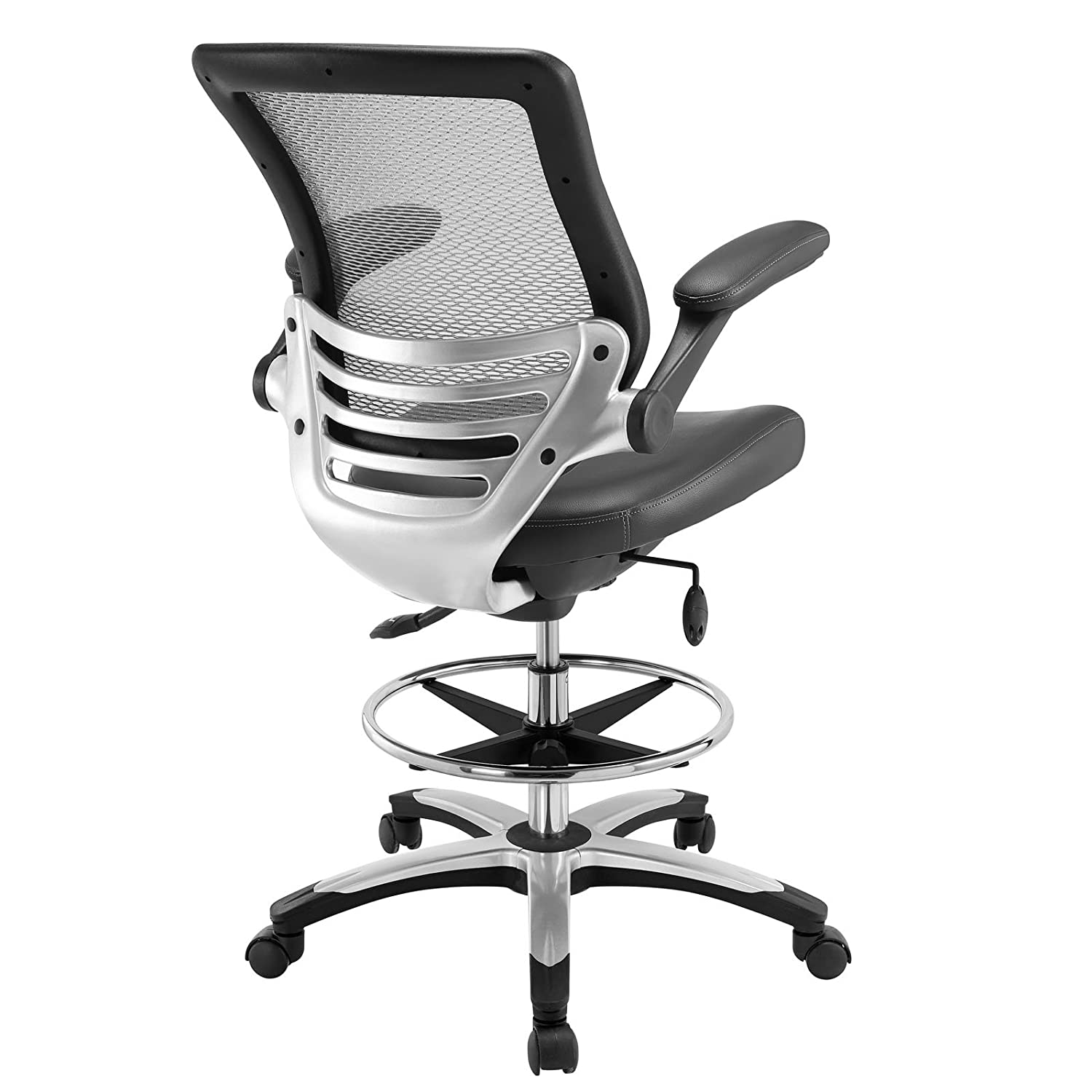 Amazon Modway Edge Drafting Chair In Gray Vinyl Reception