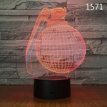 LANGNY Estilo de granada 3D, base negra: toque colorido. LED Luz ...