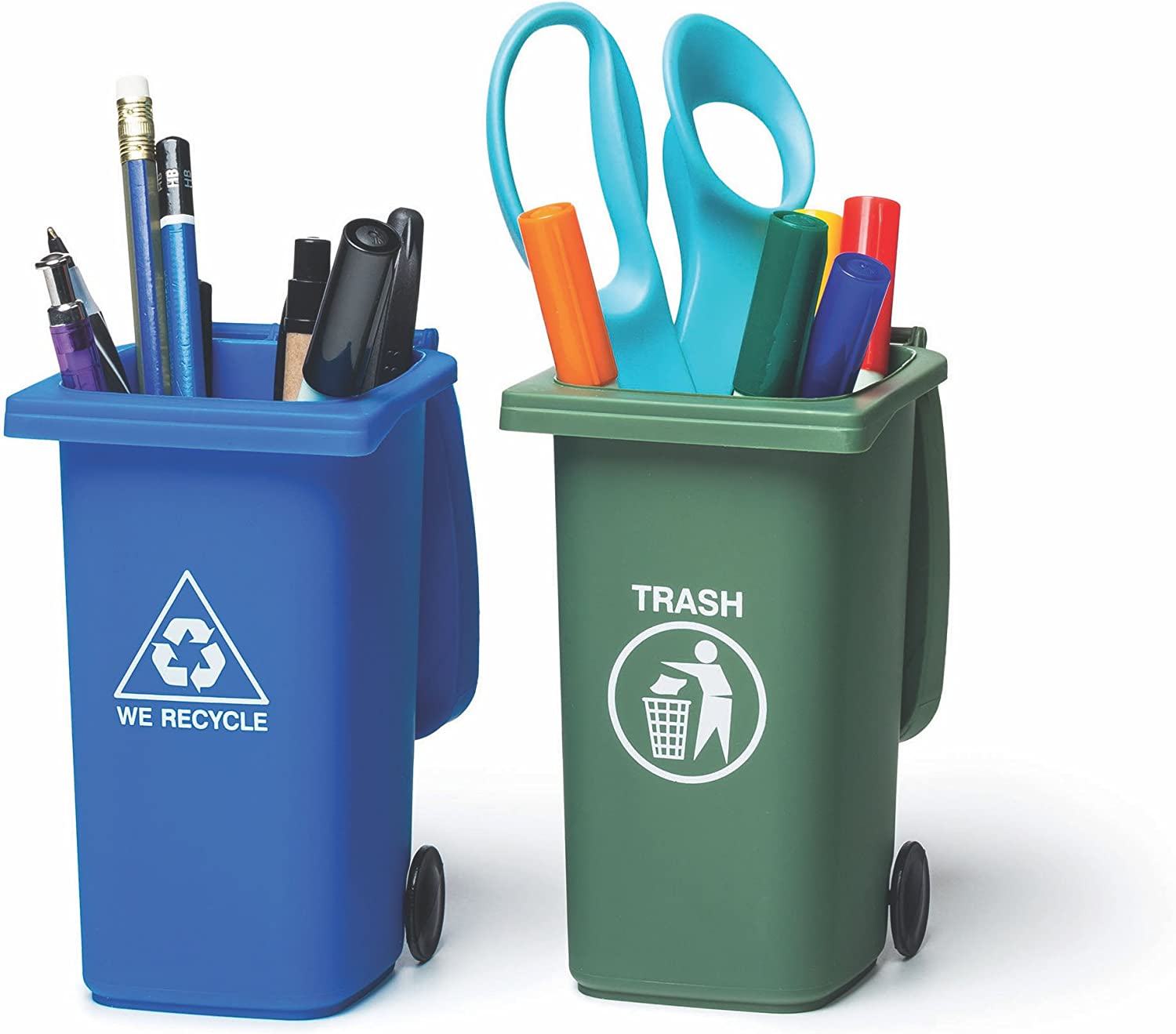 BigMouth Inc The Mini Curbside Trash and Recycle Can Set, 5-inch Tall Desktop Organizer, Pencil Holder for Desk