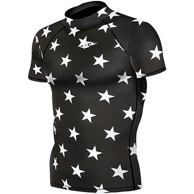 New 070 Skin Tight Compression Base Layer Black Star T Shirt Short Sleeve Mens