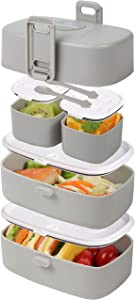 Bento Lunch Box for Kids and Adults - 4 Lunch Containers with Leakproof Lids Latch Together for Easy Carry in a Backpack - Microwave and Dishwasher-Safe with Kid-Friendly Spoon and Fork (Gray)