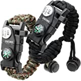 Paracord Bracelet, Survival Bracelet,20 in 1 Survival Gear Kit with Waterproof SOS LED Light Emergency Knife Whistle Compass Fire Starter for Camping Hiking Cycling (2 Pack)