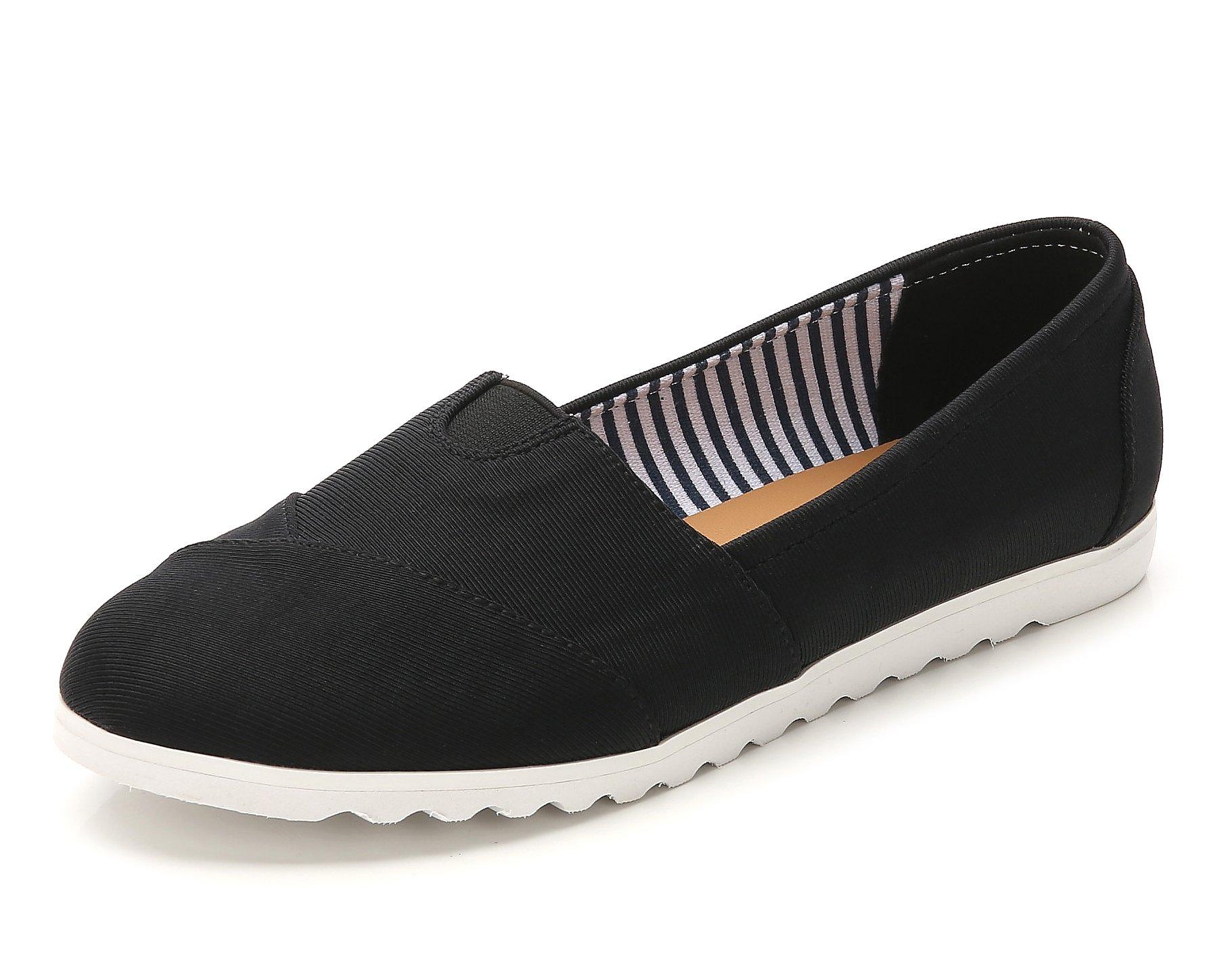 ComeShun Womens Shoes Classic Flats Comfort Slip On Sneakers (39 EU/8 US, Black)