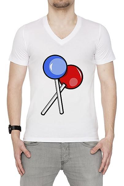Chupete Hombre Camiseta V-Cuello Blanco Manga Corta Todos ...