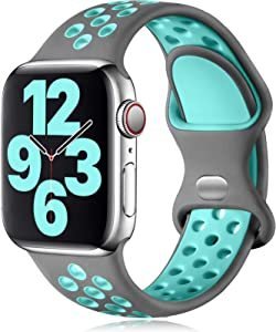 Vcegari Sports Band Compatible with Apple Watch 42mm 44mm, Soft Breathable Silicone Strap for iWatch SE Series 6 5 4 3 2 1, Gray/Teal M/L