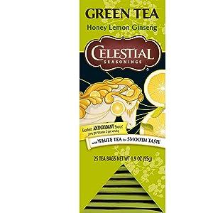 Celestial Seasonings Green Tea, Honey Lemon Ginseng, 25 Count (Pack of 6)