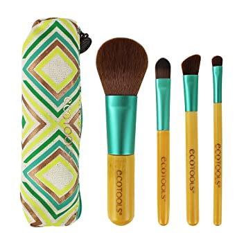 93a25f3a358 Ecotools Limited Edition Bamboo Boho Luxe Travel Make Up Brush Set, With 4  Travel Size Brushes with...