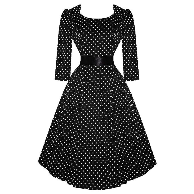 Diseño de corazones y rosas de Londres vestido de Señora con estampado de lunares negro mangas