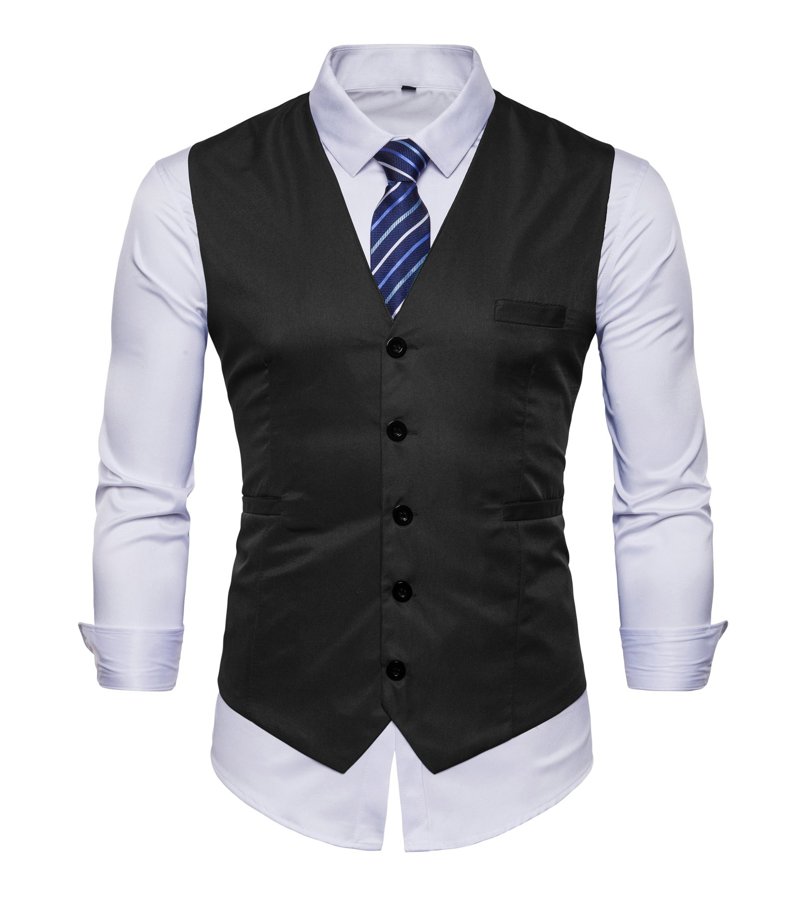 AOYOG Men's Business Suit Vests Waistcoat Slim Fit for Suit Or Tuxedo, Black, X-Large by AOYOG