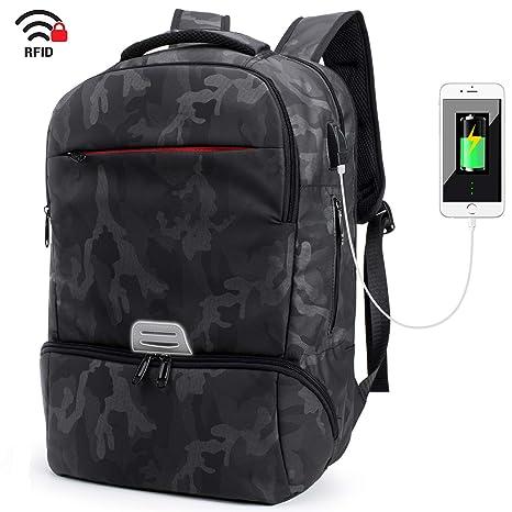 Mochila portátil 15.6 Mochila de Ordenador portatil de Negocios Impermeable Multifuncional Daypacks,Camuflaje