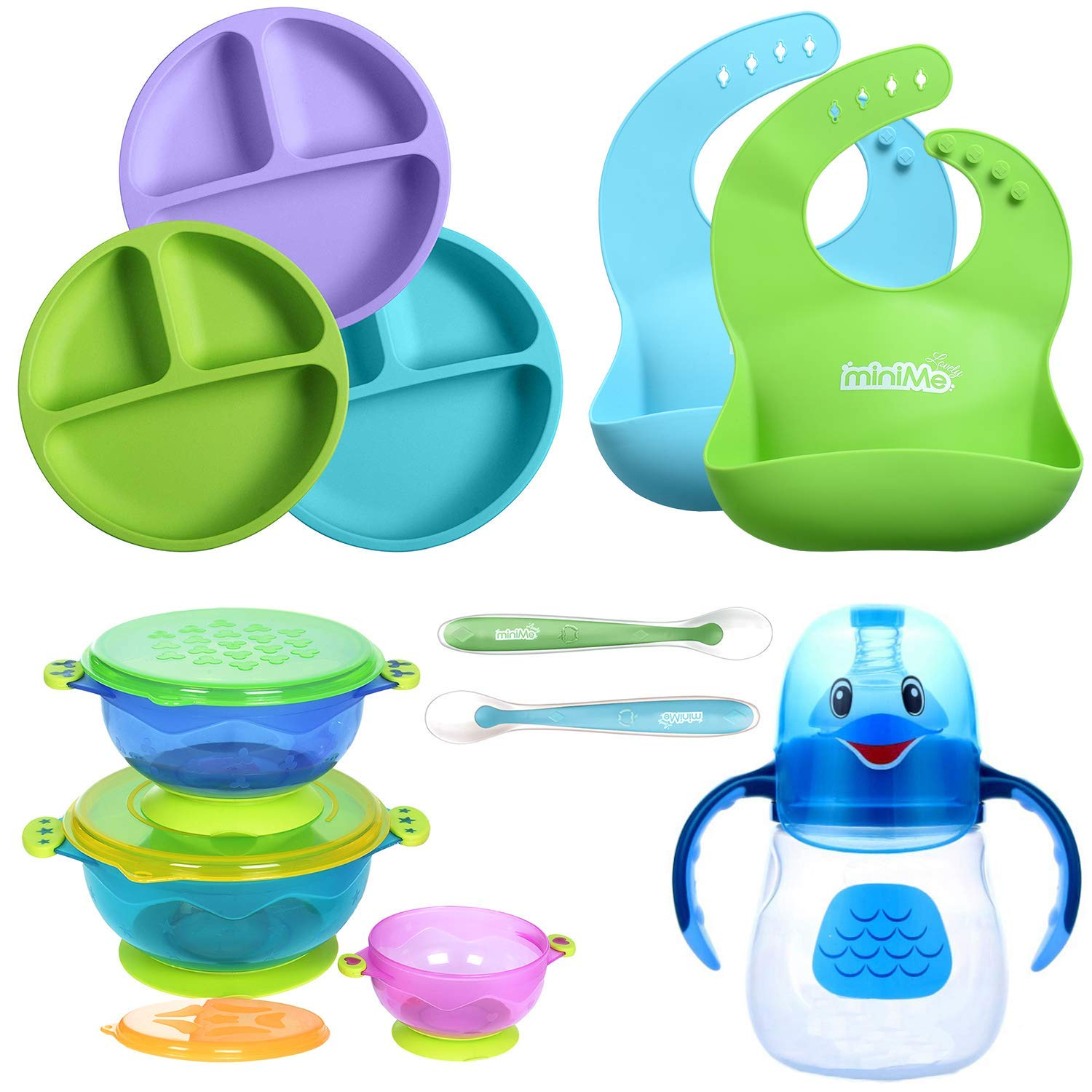 Lovely Minime Baby Feeding Set, Toddler Plates, Suction Bowls, Sippy Cup, Silicone Bibs, Soft Spoons by Lovely miniMe