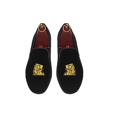 SMYTHE & DIGBY Men's Albert Slipper Leather Lined Black Velvet Loafers Lions Head Motif (9.5)   Loafers & Slip-Ons