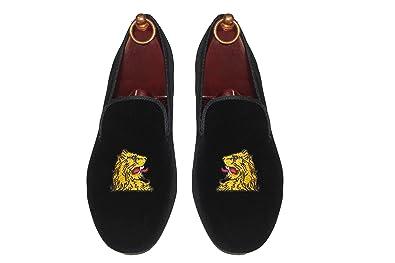 SMYTHE   DIGBY Men s Albert Slipper Leather Lined Black Velvet Loafers Lions  Head Motif (9 9348dd4d2a9c