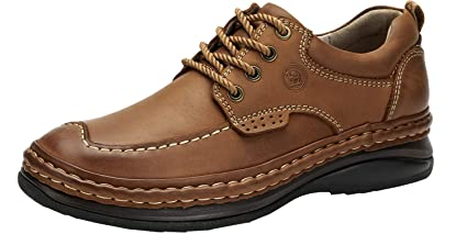 5970ff680187 CAMEL CROWN Slip On Shoes for Men Slip Resistant Sneaker Leather Casual  Driving Boat Walking Oxford