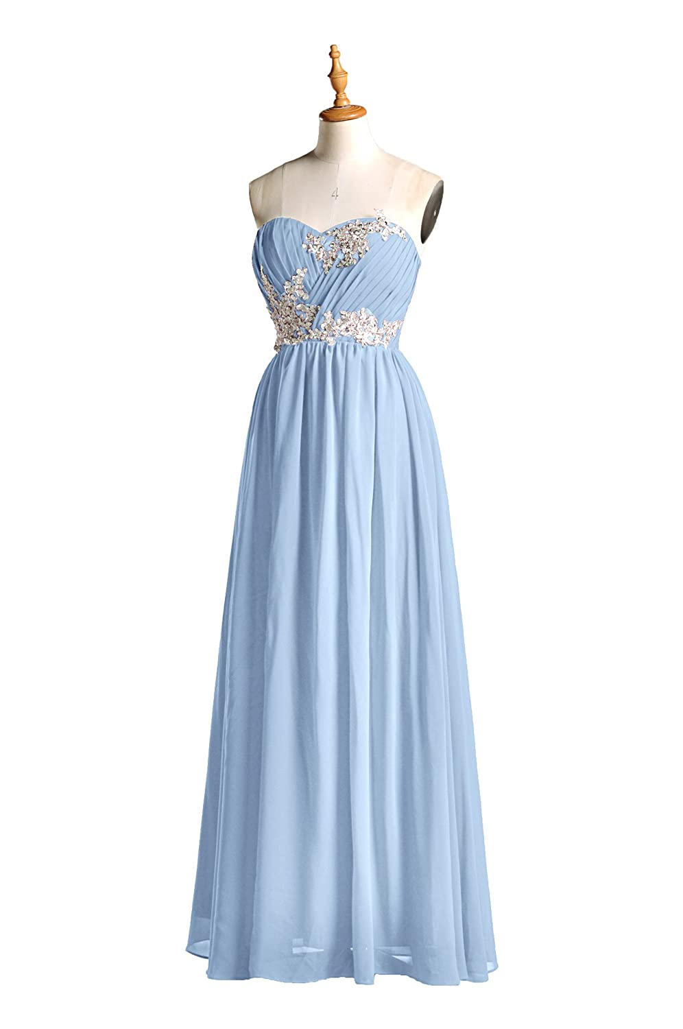 Bridesmaid Dress Long Special Occasion Gown Formal Dresses For Women Lace Prom Dresses, Color Cornflower Blue, 12 at Amazon Womens Clothing store: