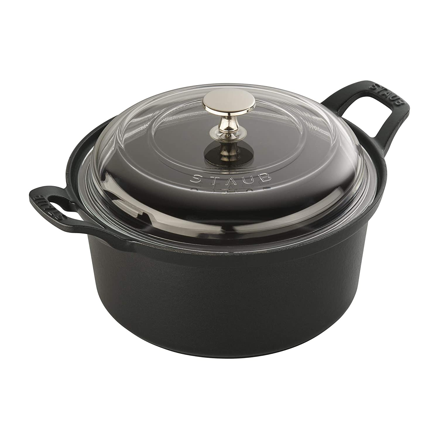 STAUB 11502023 Cast Iron Round La Coquette with Glass Lid, 2.75-qt, Matte Black