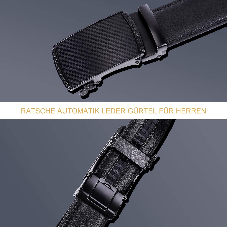 JasGood Gürtel Herren Ratsche Automatik Gürtel - Herren Leder Gürtel mit Automatischer Gürtelschnallen 3.5cm Breit, Schwarz, Gürtellänge 130cm