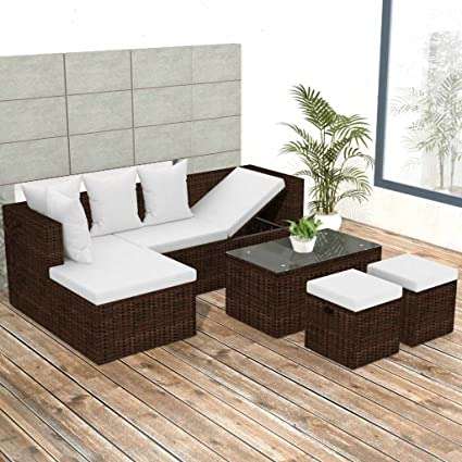 ff04299316f Amazon.com   K Top Deal 12 Pieces Patio Outdoor Wicker Rattan Sofa Set and  Stool with Cushion Set