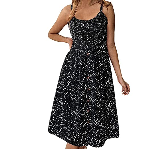 8cd9bb98 Nihewoo Women's Dresses-Summer Floral Print Polka Dot Ruffled Dress Button  Down Swing Midi Dress
