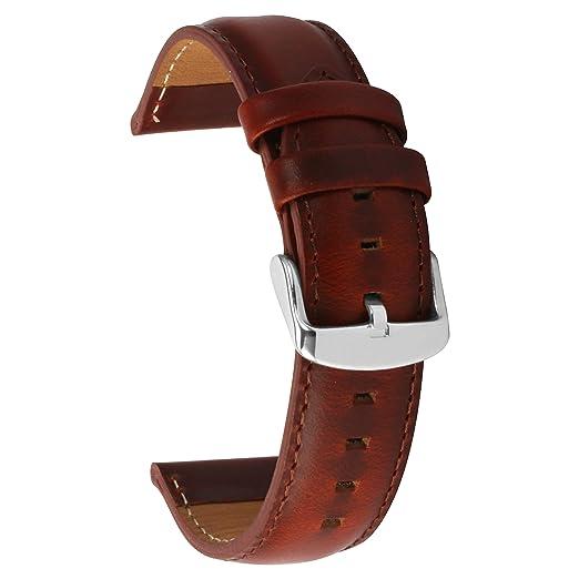 c7f7ebc93793 20mm Correa Reloj de Cuero Genuina para Mujeres Hombres - Marrón Claro   Amazon.es  Relojes